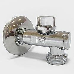 Кран угловой шаровый с фильтром и декоративным фланцем 1/2 - 3/4 блестящий арт 127 FORNARA s.p.a. Форнара Италия